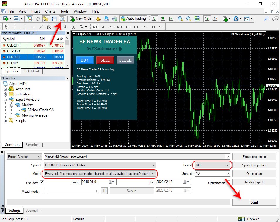 How to backtest BF News Trader EA - Strategy Tester