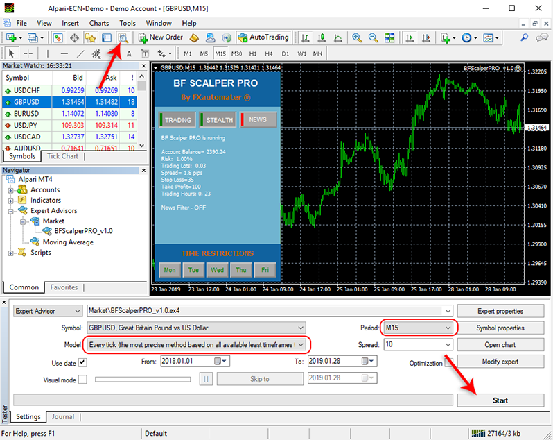 How to backtest BF Scalper Pro - Strategy Tester