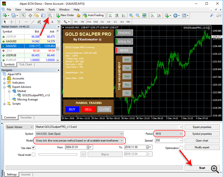How to backtest GOLD Scalper PRO - Strategy Tester