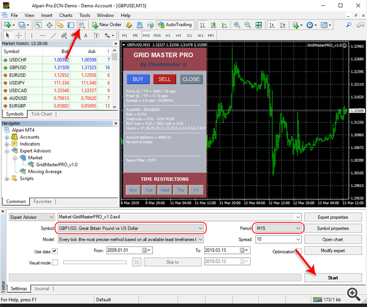 How to backtest Grid Master Pro - Strategy Tester