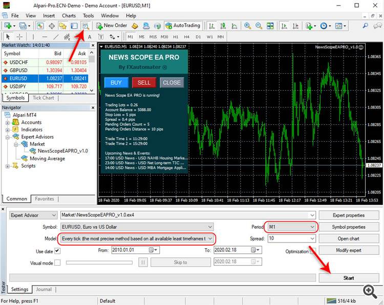 How to backtest News Scope EA PRO - Strategy Tester