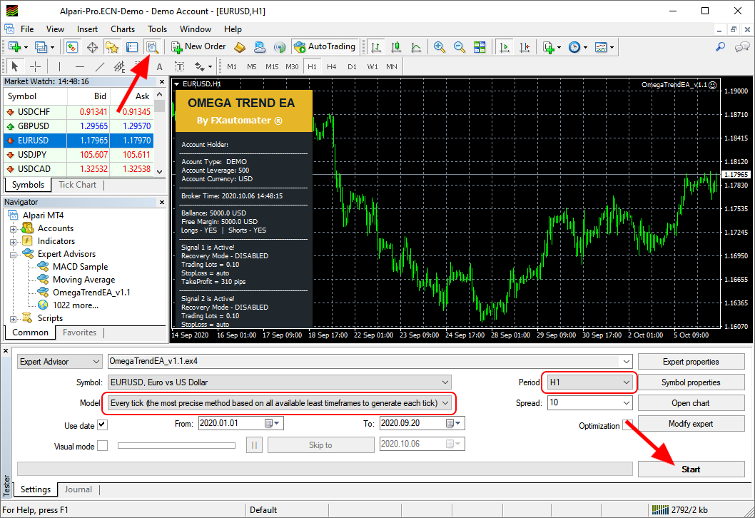 How to backtest Omega Trend EA - Strategy Tester